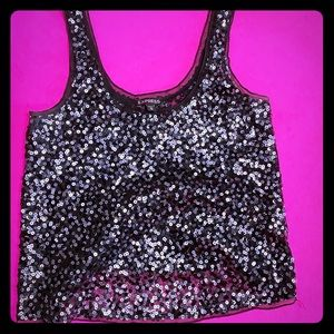 Express Black Sequined Sleeveless Top